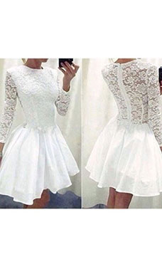 A-line Scoop Long Sleeve Lace Dress