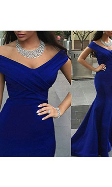 Trumpet/Mermaid Off-the-shoulder Sleeveless Satin Dress