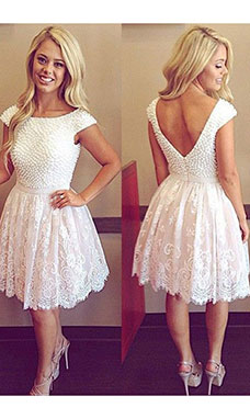 A-line Scoop Short Sleeve Lace Dress