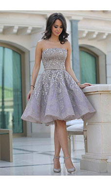 A-line Strapless Sleeveless Organza Dress