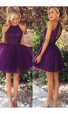 A-line Halter Sleeveless Tulle Dress