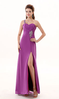 Sheath/Columnn One Shoulder Floor-length Chiffon Prom Dress