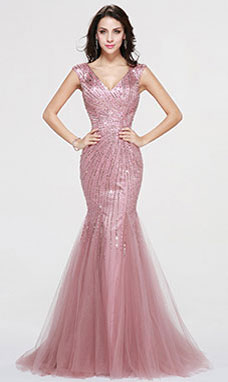 Trumpet/Mermaid V-neck Sweep/Brush Train Sequins Prom Dress