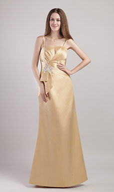 Sheath/Column Spaghetti Straps Floor-length Satin Evening Dress