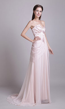 A-line V-neck Sweep/Brush Train Satin Chiffon Evening Dress