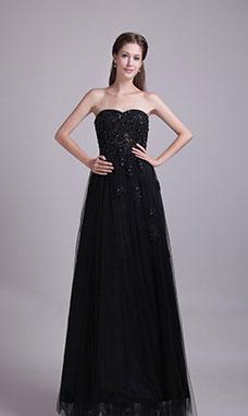 A-line Sweetheart Floor-length Tulle Sequins Prom Dress