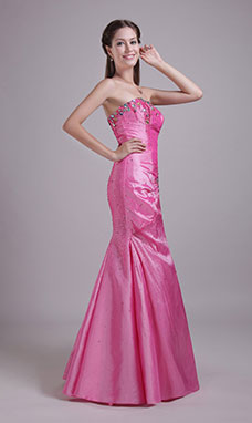 Trumpet/Mermaid Sheath/Column Strapless Floor-length Taffeta Evening Dress
