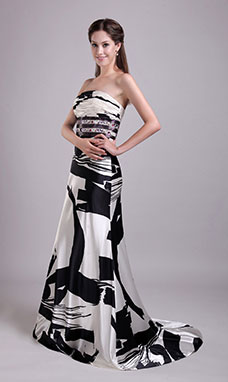 Sheath/Column Strapless Sweep/Brush Train Satin Evening Dress