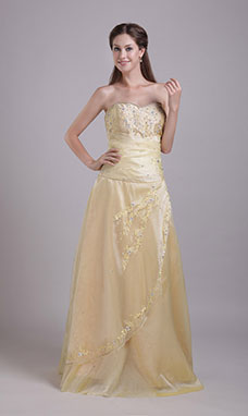 A-line Trumpet/Mermaid Strapless Court Train Chiffon Prom Dress