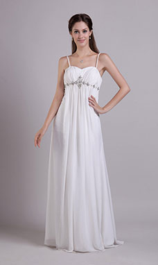 A-line Square Sweep/Brush Train Chiffon Evening Dress