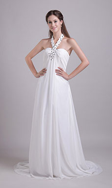 A-line Strapless Court Train Organza Evening Dress