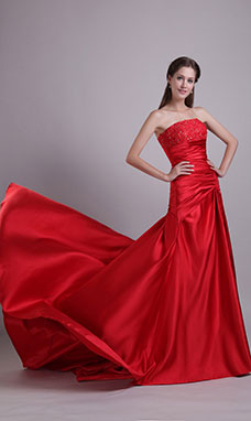 A-line Strapless Sweep/Brush Train Tulle Sequins Prom Dress