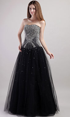 A-line Halter Sweep/Brush Train Chiffon Evening Dress