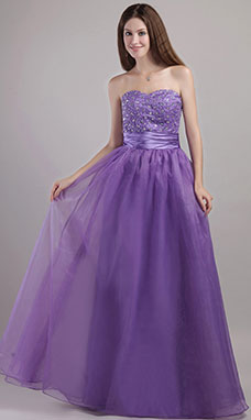 A-line Strapless Floor-length Lace Tulle Evening Dress