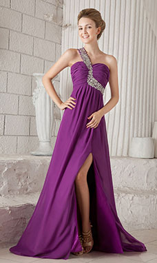 Sheath/Column Trumpet/Mermaid V-neck Floor-length Chiffon Lace Prom Dress