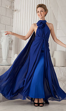 A-line Strapless Sweep/Brush Train Chiffon Prom Dress