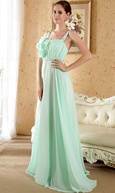 A-line Sheath/Column Halter Sweep/Brush Train Chiffon Evening Dress