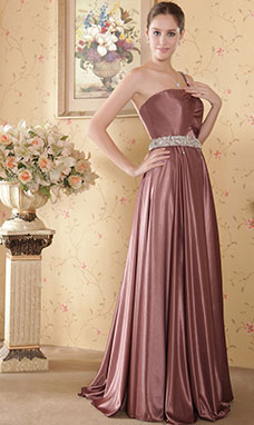 Sheath/Column Trumpet/Mermaid Sweetheart Sweep/Brush Train Satin Evening Dress