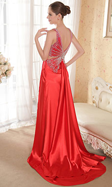 A-line Spaghetti Straps Sweep/Brush Train Chiffon Evening Dress