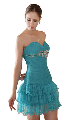 Princess Strapless Short/Mini Tulle Homecoming Dress