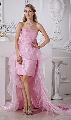 Sheath/Column Sweetheart Knee-length Taffeta Evening Dress
