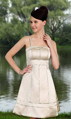 Sheath/Column Spaghetti Straps Knee-length Taffeta Prom Dress