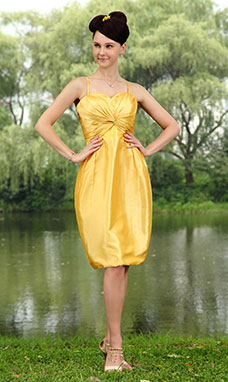 A-line Halter Knee-length Satin Prom Dress
