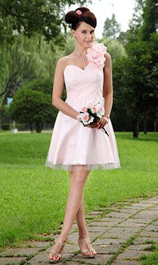 A-line Spaghetti Straps Short/Mini Tulle Prom Dress