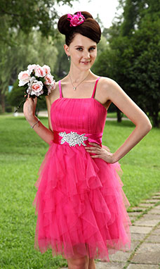 Sheath/Column Sweetheart Knee-length Tulle Graduation Dress