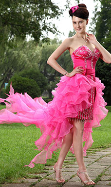 A-line Sweetheart Knee-length Chiffon Prom Dress