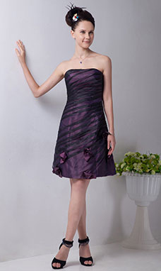 A-line Strapless Knee-length Taffeta Graduation Dress