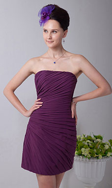 A-line Strapless Knee-length Satin Holiday Dress