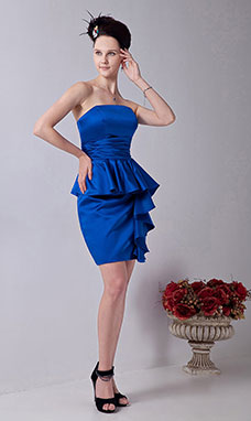 A-line Halter Knee-length Chiffon Satin Holiday Dress