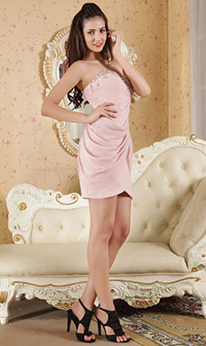 A-line V-neck Knee-length Chiffon Holiday Dress