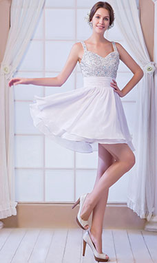 A-line Halter Knee-length Chiffon Homecoming Dress