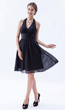 A-line V-neck Asymmetrical Chiffon Homecoming Dress