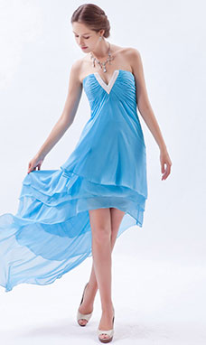 Princess One Shoulder Tea-length Tulle Homecoming Dress