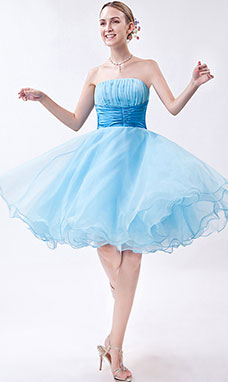 A-line One Shoulder Short/Mini Organza Homecoming Dress