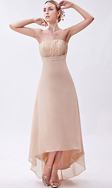Sheath/Column Sweetheart Asymmetrical Satin Organza Holiday Dress