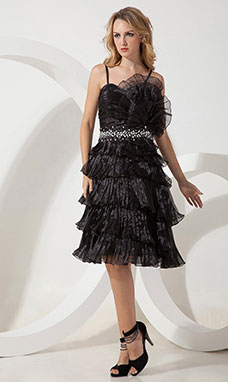 A-line Square Knee-length Lace Holiday Dress