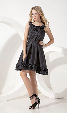 Sheath/Column V-neck Knee-length Taffeta Holiday Dress
