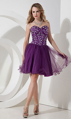 Princess Sweetheart Asymmetrical Organza Cocktail Dress