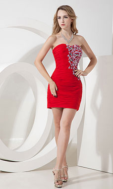 Sheath/Column One Shoulder Short/Mini Chiffon Holiday Dress