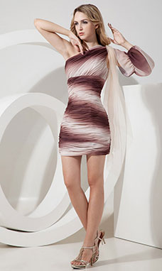 Sheath/Column Strapless Short/Mini Taffeta Holiday Dress
