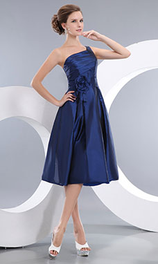 Princess One Shoulder Knee-length Organza Holiday Dress