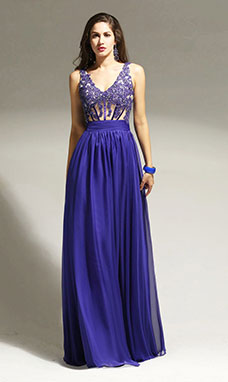 A-line Strapless Floor-length Satin Sequins Prom Dress
