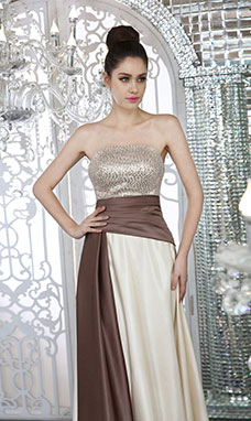 Sheath/Column Strapless Knee-length Sequins Prom Dress