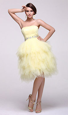 Sheath/Column Strapless Short/Mini Chiffon Homecoming Dress