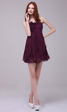 A-line Strapless Short/Mini Chiffon Homecoming Dress