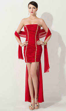 Trumpet/Mermaid Sheath/Column High Neck Sweep/Brush Train Satin Homecoming Dress